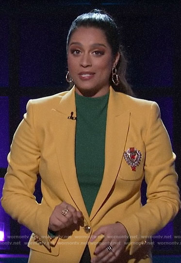 Lilly Singh's yellow blazer with embellished pocket on A Little Late with Lilly Singh