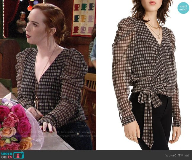 Lini Grace Puff-Sleeve Plaid Wrap Top worn by Mariah Copeland (Camryn Grimes) on The Young & the Restless