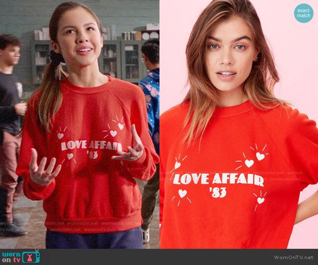 LnA Love Affair Sweatshirt worn by Nini (Olivia Rodrigo) on High School Musical The Musical The Series