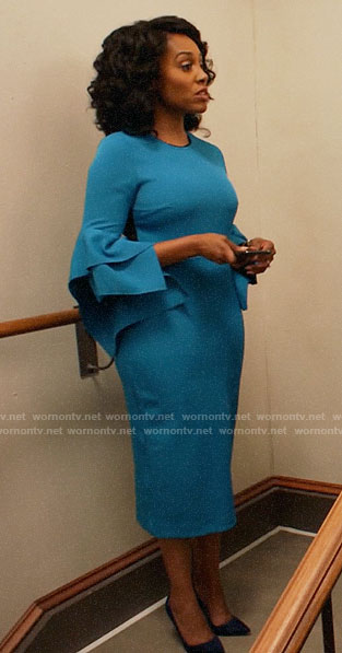 Lola's blue flared sleeve dress on All Rise
