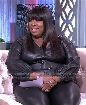 Loni's black belted v-neck jumpsuit on The Real