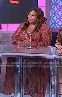 Loni's brown striped maxi dress on The Real