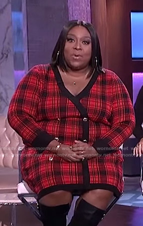 Loni's red plaid knit dress on The Real