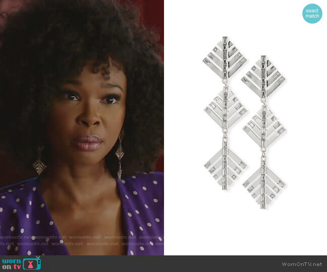 Cascadia Pine Drop Earrings by Lulu Frost worn by Monica Colby (Wakeema Hollis) on Dynasty