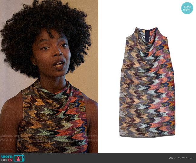 Missoni Sleeveless Mock Neck Top in Arrow Multi worn by Briana Johnson (MaameYaa Boafo) on Bluff City Law