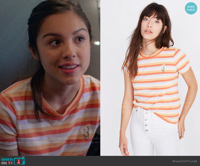 Madewell Daisy Embroidered Northside Vintage Tee in Broadway Stripe worn by Nini (Olivia Rodrigo) on High School Musical The Musical The Series