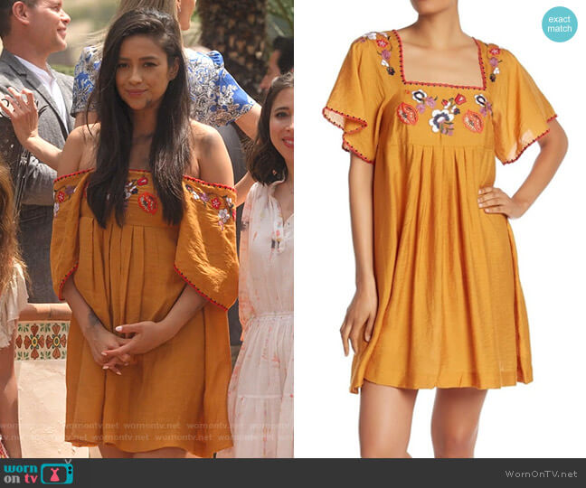 Embroidered Square-Neck Mini Dress by Madewell worn by Stella Cole (Shay Mitchell) on Dollface