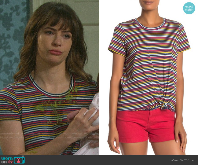 Madewell Rainbow Stripe Knot Front Tee worn by Sarah Horton (Linsey Godfrey) on Days of our Lives