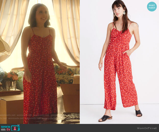 Ruched Wide-Leg Jumpsuit in Prairie Posies by Madewell worn by Izzy Levine (Esther Povitsky) on Dollface