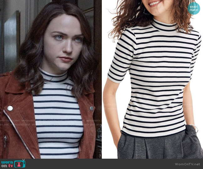 Madewell Sailor Stripe Ribbed Mock Neck Top worn by Cara Bloom (Violett Beane) on God Friended Me