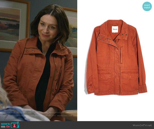 Surplus Cotton Jacket by Madewell worn by Amelia Shepherd (Caterina Scorsone) on Greys Anatomy