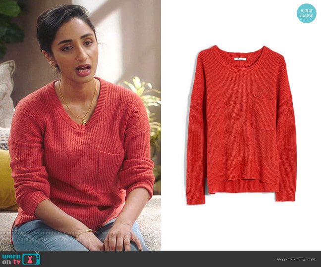 Thompson Pocket Pullover Sweater by Madewell worn by Mallory Modi (Kiran Deol) on Sunnyside