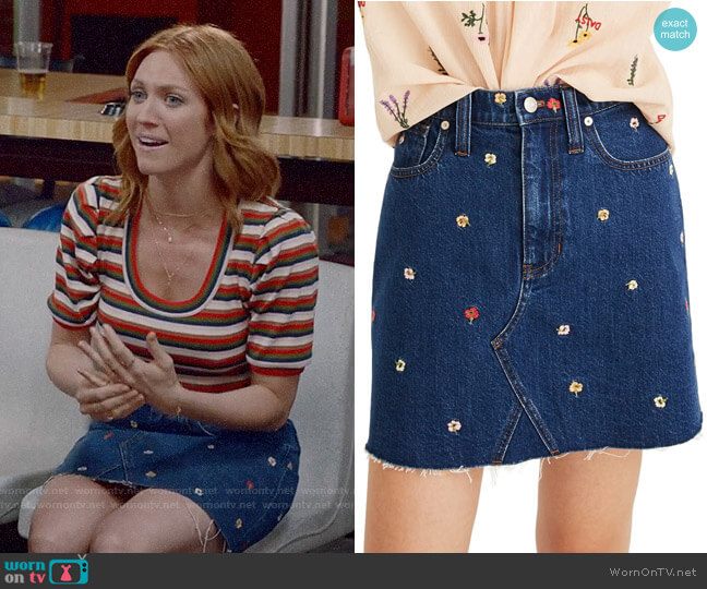 Madewell Confetti Floral Denim Miniskirt worn by Julia Bechley (Brittany Snow) on Almost Family