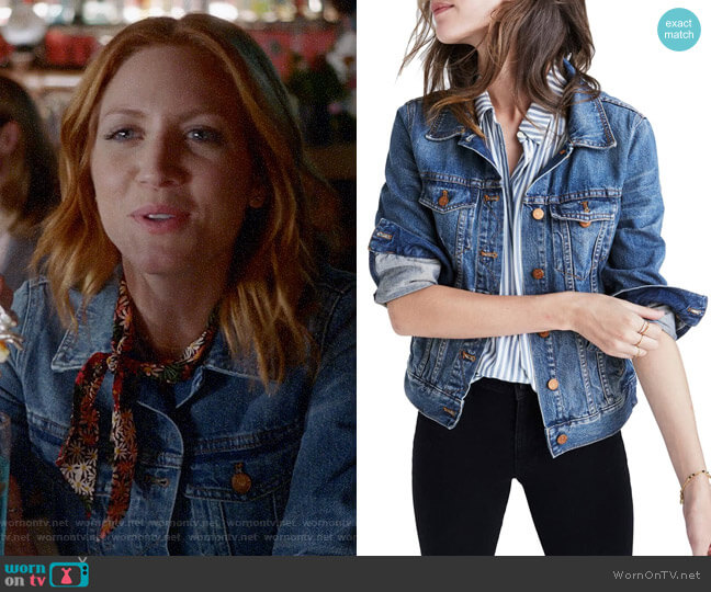 Madewell Denim Jacket worn by Julia Bechley (Brittany Snow) on Almost Family