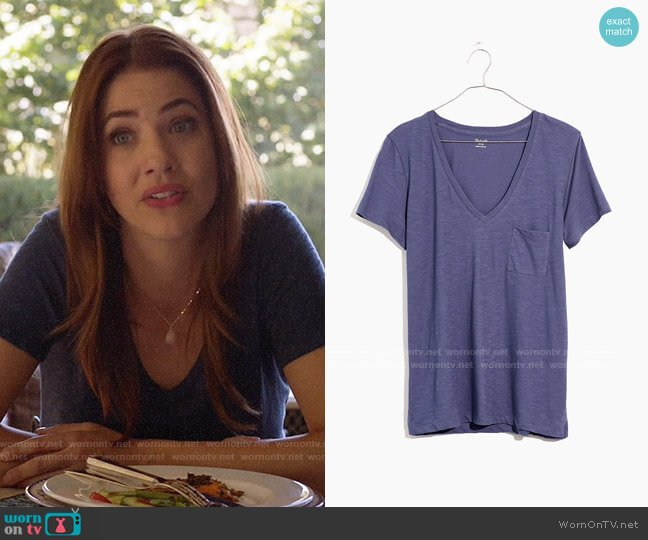 Madewell Whisper Cotton V-neck Tee in Sunfaded Indigo worn by Andrea Rojas (Julie Gonzalo) on Supergirl