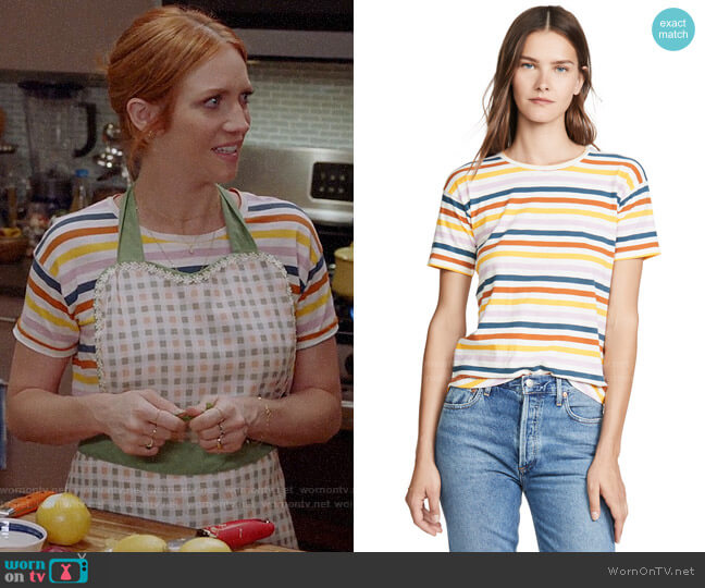 Madewell Whisper Crew Tee in Recycled Blue/Akita Stripe worn by Julia Bechley (Brittany Snow) on Almost Family