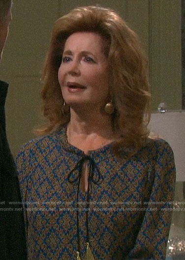 Maggie's blue printed tie neck blouse on Days of our Lives