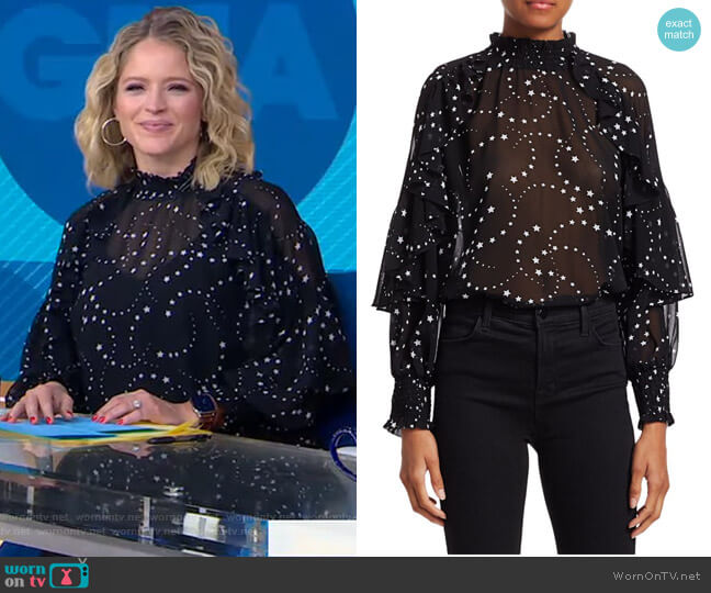 Letro Star Print Ruffle Blouse by Maje worn by Sara Haines  on Good Morning America