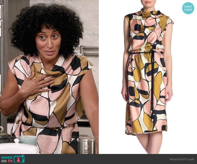 Marc Jacobs Printed Silk Drape-Neck Dress worn by Rainbow Johnson (Tracee Ellis Ross) on Blackish