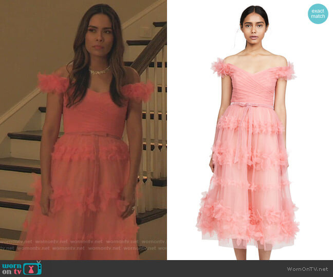 Off Shoulder Tea Length Gown by Marchesa Notte worn by Cristal Jennings (Daniella Alonso) on Dynasty