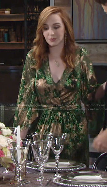 Mariah's green and gold maxi dress on The Young and the Restless