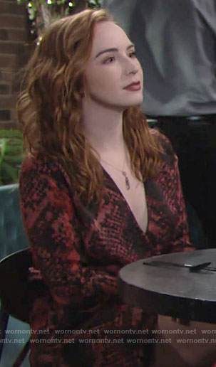 Mariah's red snake print dress on The Young and the Restless