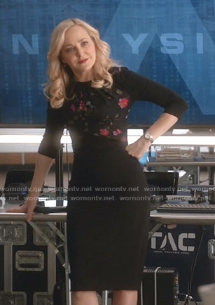 Marissa's black floral dress on Bull