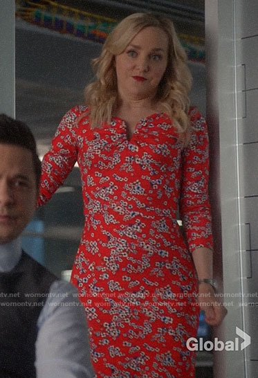 Marissa's red floral notch dress on Bull