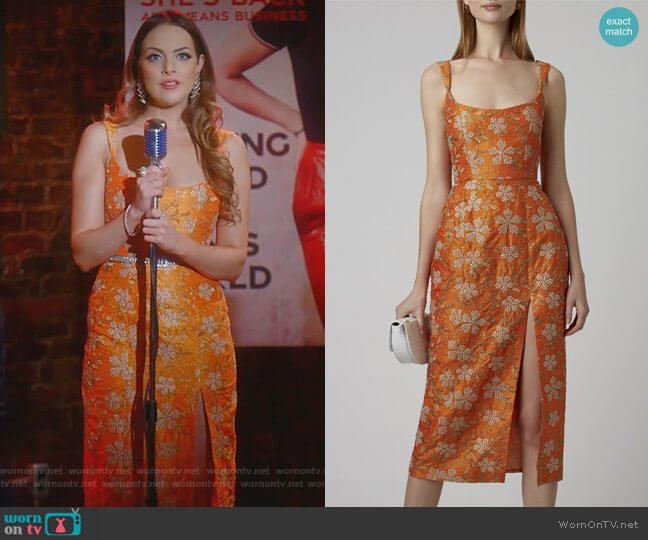 Kanara Embroidered Silk Midi Dress by Markarian worn by Fallon Carrington (Elizabeth Gillies) on Dynasty