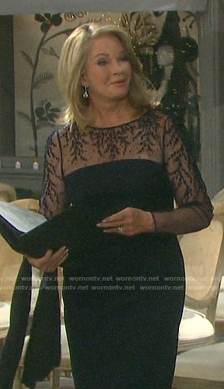 Marlena's navy embroidered dress at Lani's wedding on Days of our Lives