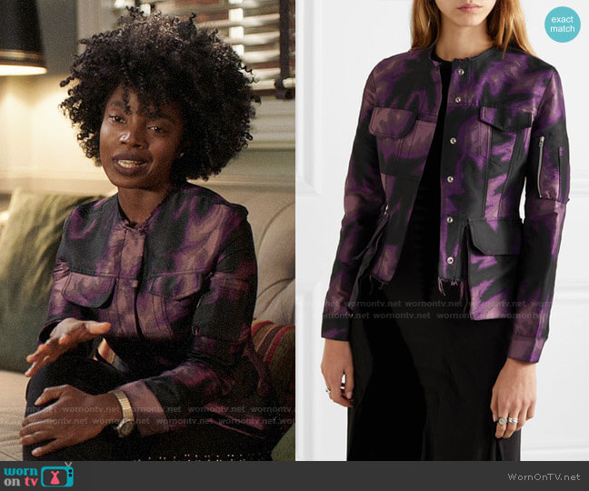 Marques Almeida Frayed printed brocade jacket worn by Briana Johnson (MaameYaa Boafo) on Bluff City Law