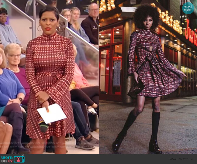 red tie waist mini dress by Marrisa Wilson worn by Tamron Hall  on Tamron Hall Show