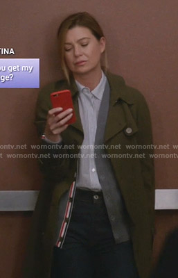 Meredith's grey striped cardigan on Greys Anatomy