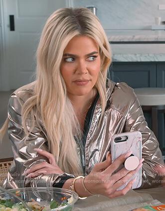 Kourtney's silver metallic jacket on Keeping Up with the Kardashians