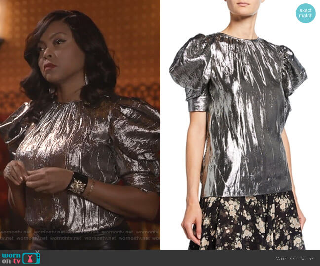 Draped Puff Sleeve Silk-Blend Blouse by Michael Kors worn by Cookie Lyon (Taraji P. Henson) on Empire