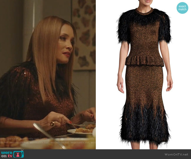 Feather-Embellished Metallic Peplum Dress by Michael Kors Collection worn by Dominique Deveraux (Michael Michele) on Dynasty
