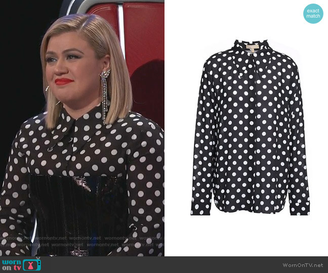 Polka-Dot Crepe Shirt  by Michael Kors worn by Kelly Clarkson  on The Voice