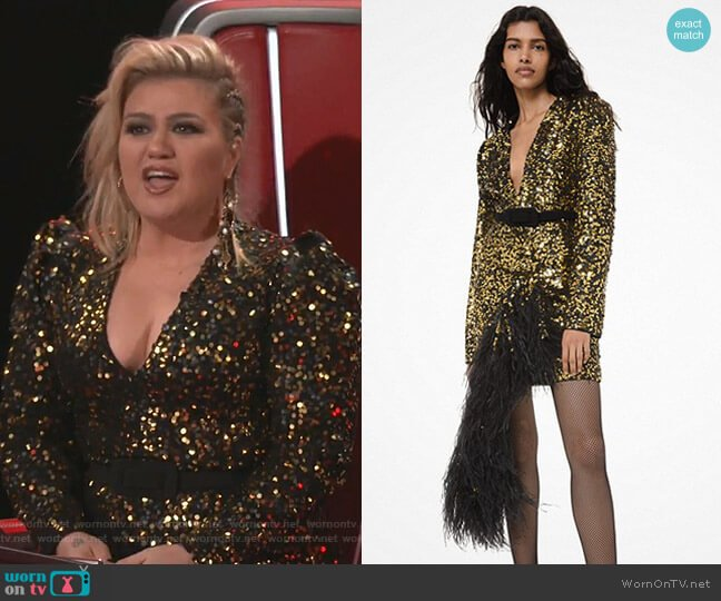 Sequined and Feather-Embroidered Asymmetric Dress by Michael Kors worn by Kelly Clarkson  on The Voice