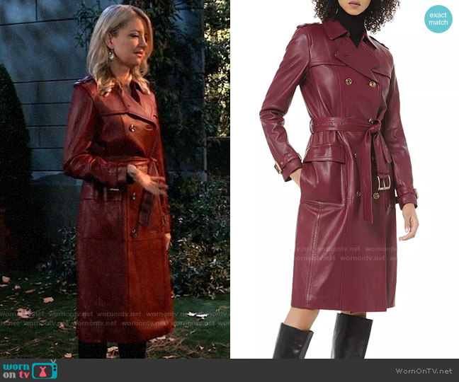 MICHAEL Michael Kors Leather Trench Coat worn by Nina Reeves (Cynthia Watros) on General Hospital