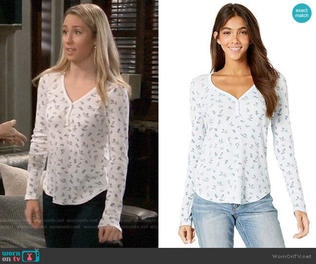 Michael Stars Vintage Floral Thermal Nadine Long Sleeve Henley Top worn by Josslyn Jacks (Eden McCoy) on General Hospital