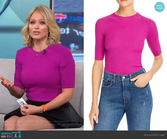 Fiona Wool Ribbed-Knit Top by Milly worn by Sara Haines  on Good Morning America