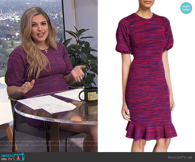 Space Dye Puff-Sleeve Dress by Milly worn by Carissa Loethen Culiner  on E! News