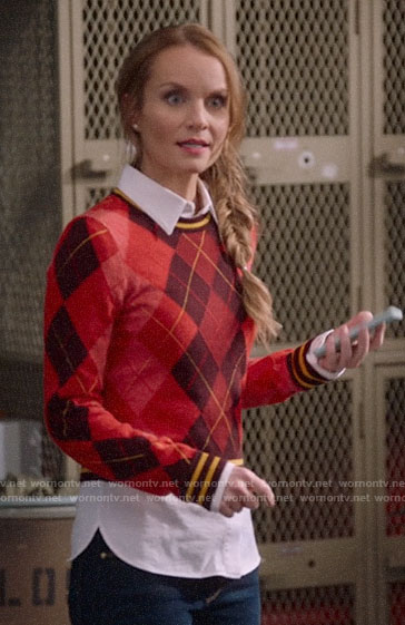 Miss Jenn's red argyle sweater on High School Musical The Musical The Series