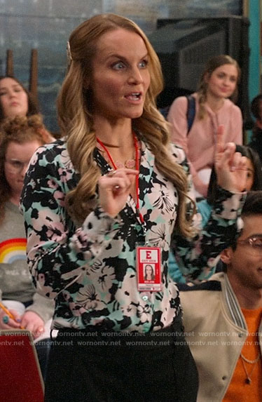 Miss Jenn's aqua floral button down blouse on High School Musical The Musical The Series