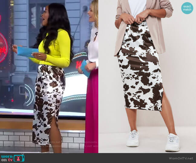 Cow Print Satin Slip Skirt by Missguided worn by Keke Palmer  on Good Morning America