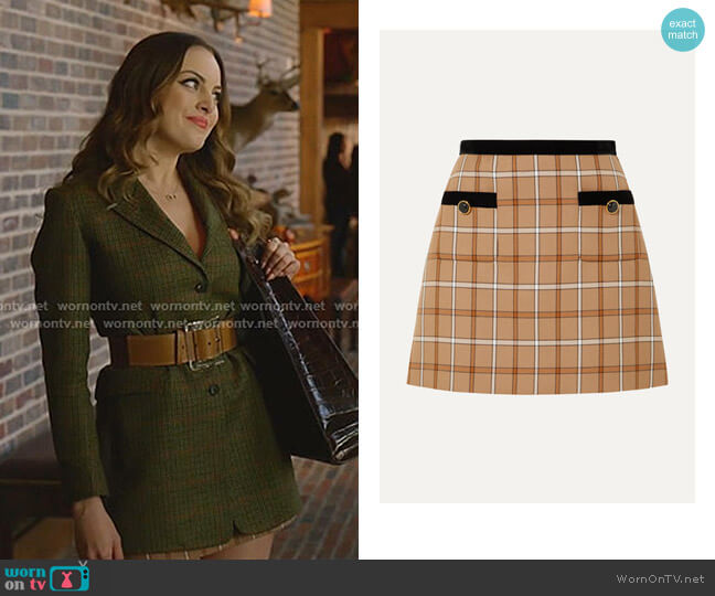 Velvet-Trimmed Checked Woven Mini Skirt by Miu Miu worn by Fallon Carrington (Elizabeth Gillies) on Dynasty