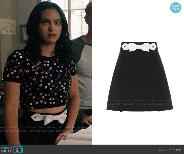 Miu Miu Ruffle Bow Mini Skirt worn by Veronica Lodge (Camila Mendes) on Riverdale
