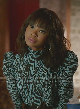Monica's blue zebra print dress on Dynasty