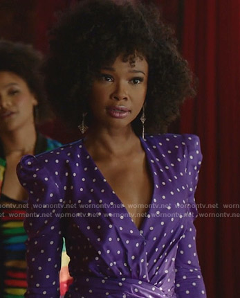 Monica's purple polka dot v-neck dress on Dynasty