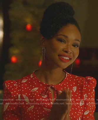 Monica's red polka dot dress on Dynasty